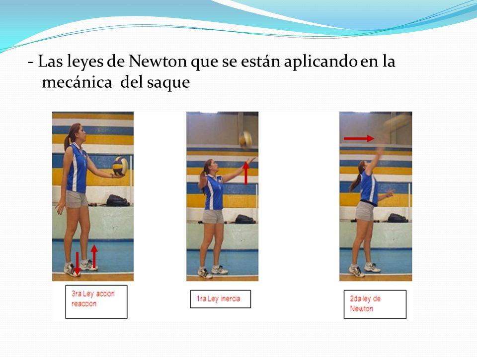 - Las leyes de Newton que se están aplicando en la mecánica del saque