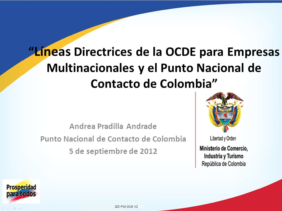 Andrea Pradilla Andrade Punto Nacional de Contacto de Colombia