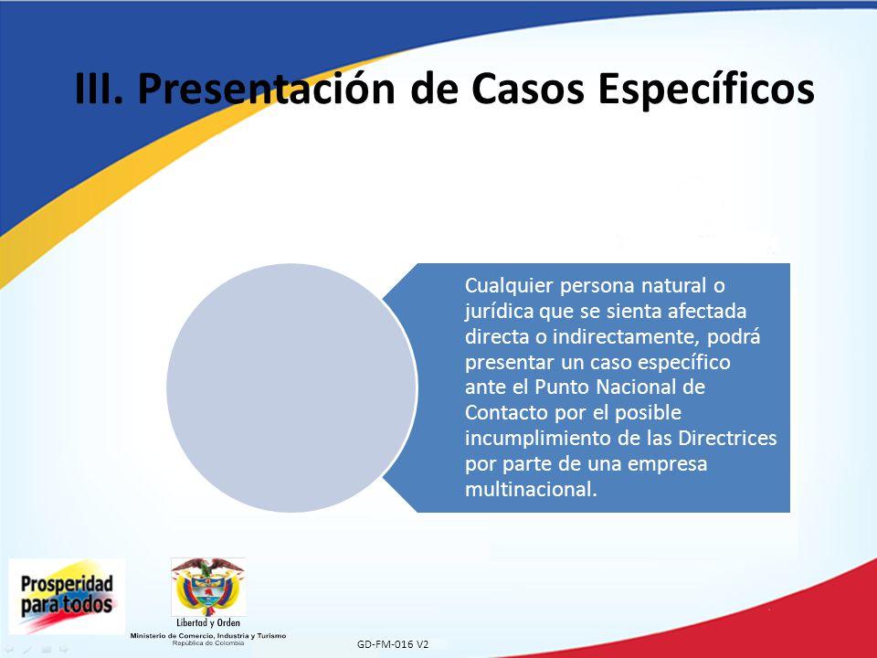 III. Presentación de Casos Específicos