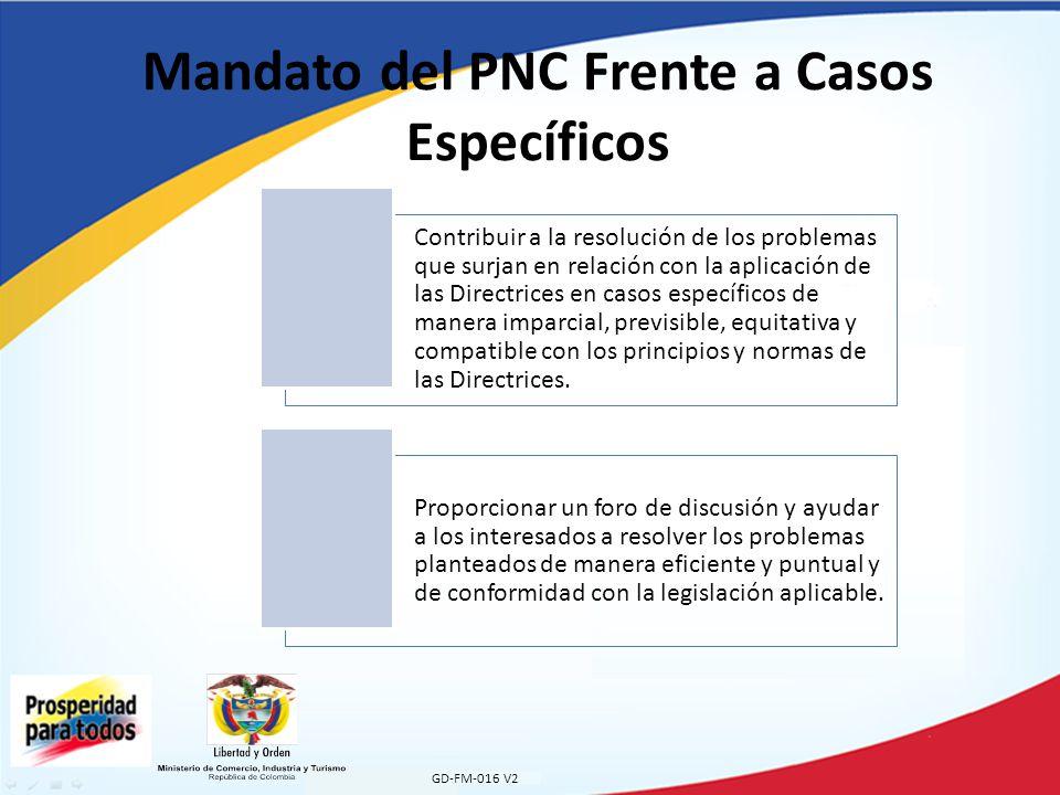 Mandato del PNC Frente a Casos Específicos