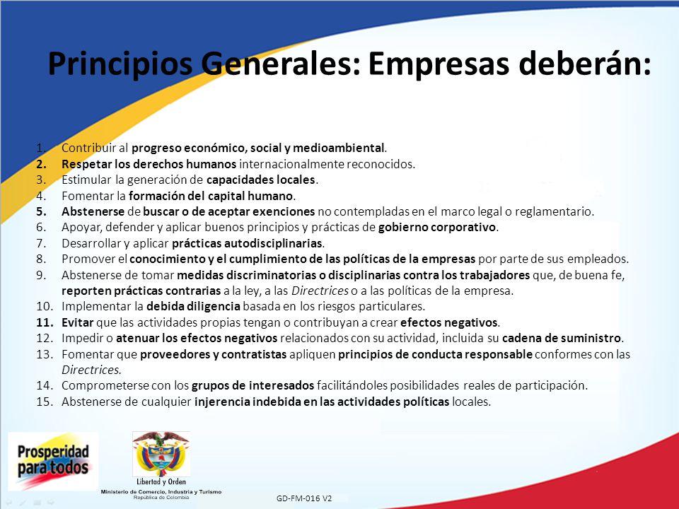 Principios Generales: Empresas deberán: