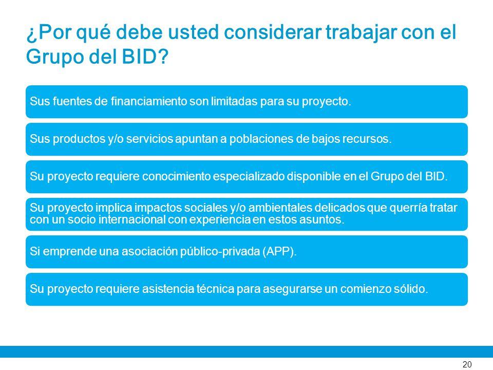 ¿Por qué debe usted considerar trabajar con el Grupo del BID