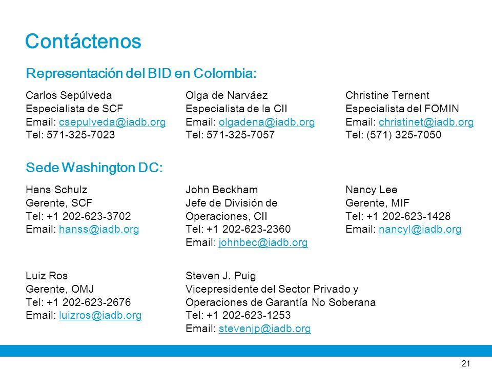 Contáctenos Representación del BID en Colombia: Sede Washington DC: