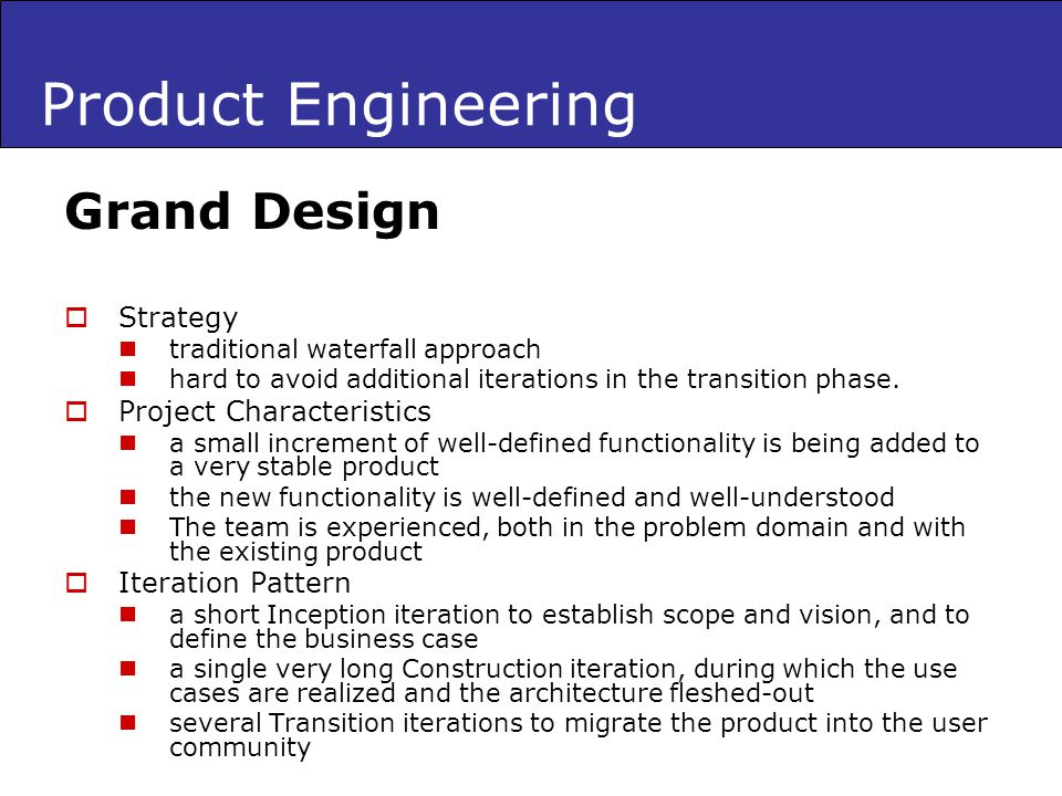 Product Engineering Grand Design Strategy Project Characteristics