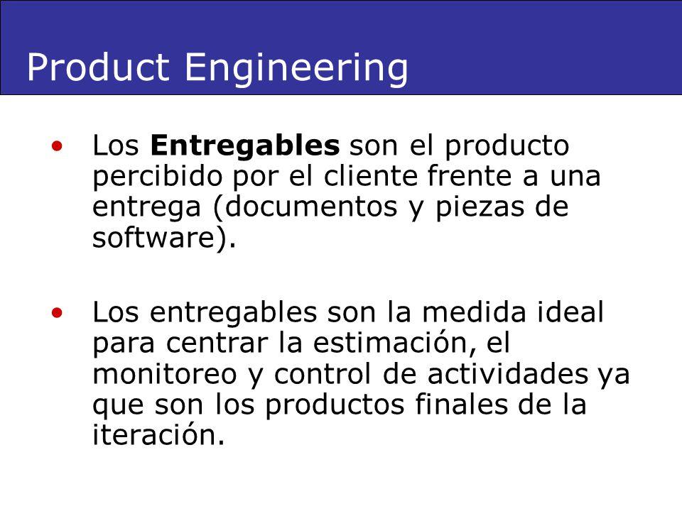 Product Engineering Los Entregables son el producto percibido por el cliente frente a una entrega (documentos y piezas de software).