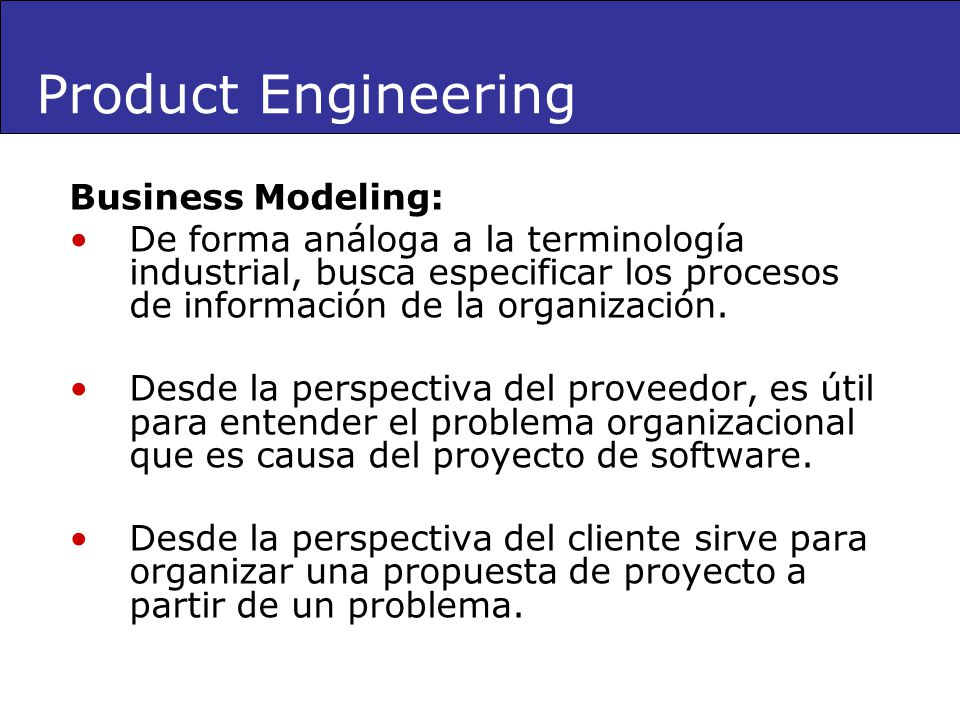 Product Engineering Business Modeling: