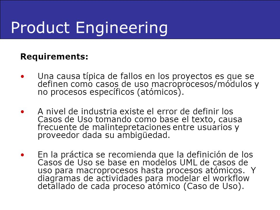 Product Engineering Requirements: