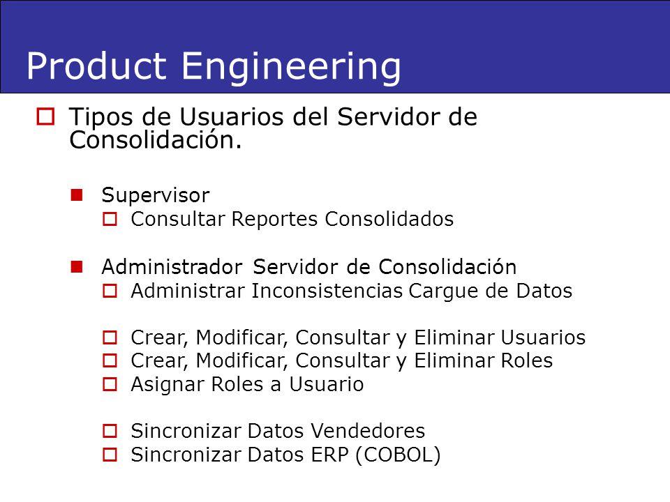 Product Engineering Tipos de Usuarios del Servidor de Consolidación.