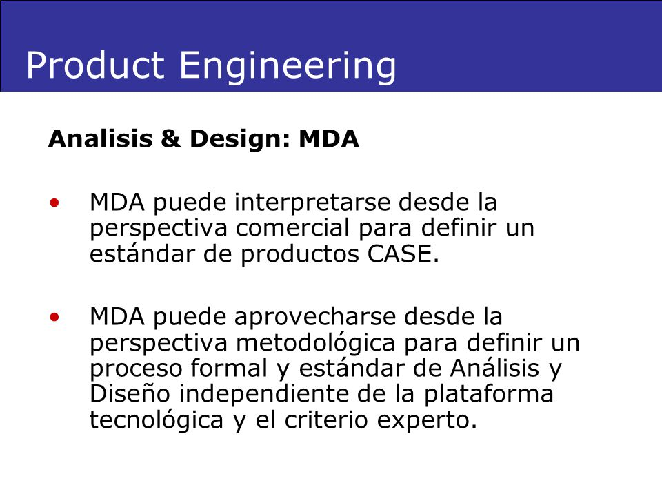 Product Engineering Analisis & Design: MDA