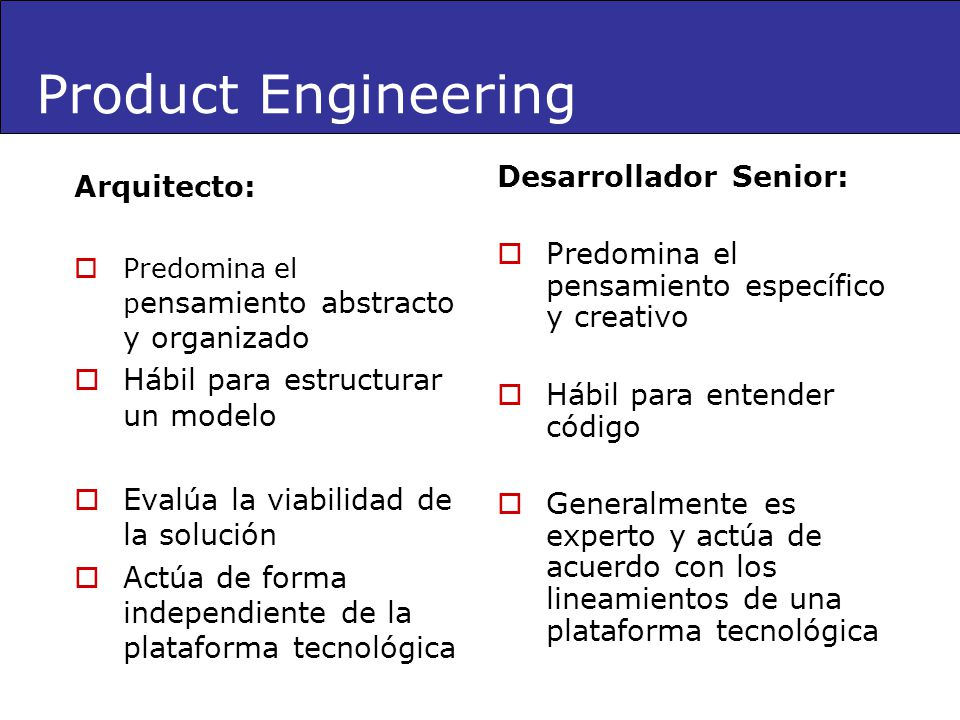 Product Engineering Desarrollador Senior: Arquitecto: