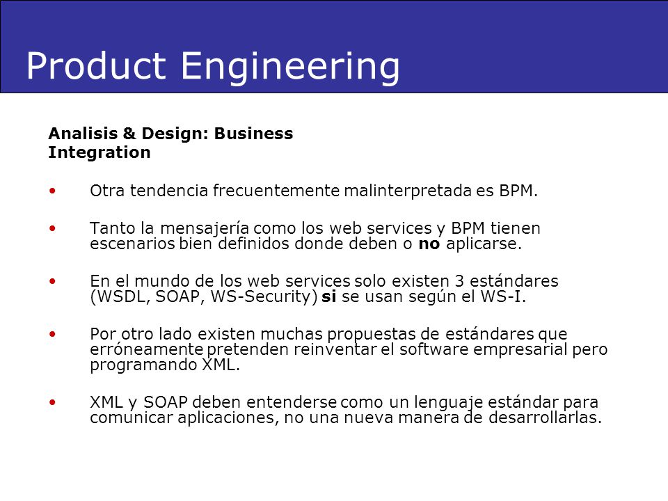Product Engineering Analisis & Design: Business Integration