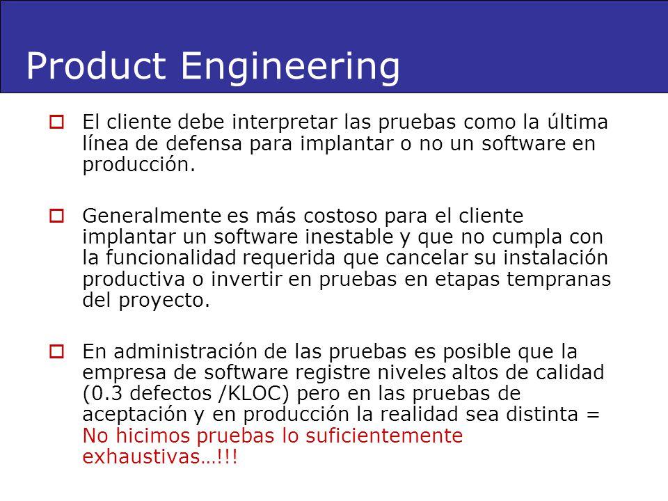 Product Engineering El cliente debe interpretar las pruebas como la última línea de defensa para implantar o no un software en producción.