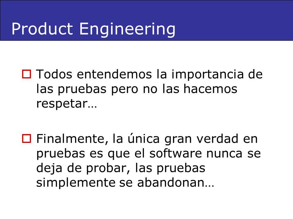 Product Engineering Todos entendemos la importancia de las pruebas pero no las hacemos respetar…