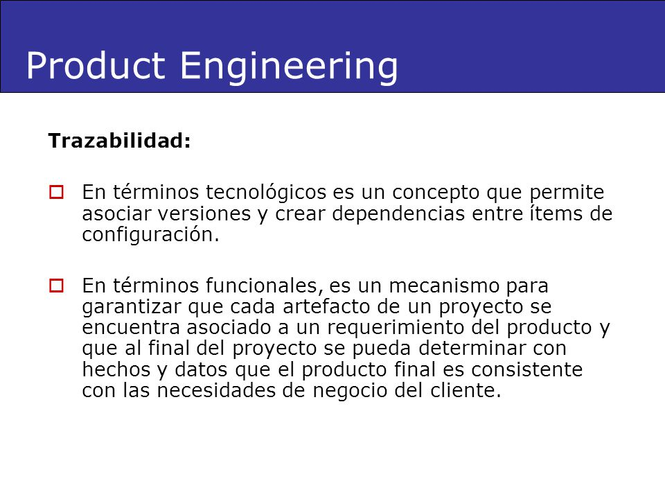 Product Engineering Trazabilidad: