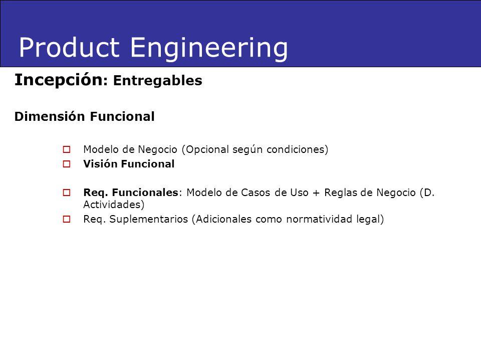 Product Engineering Incepción: Entregables Dimensión Funcional