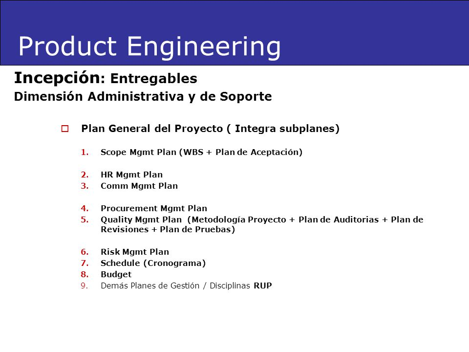 Product Engineering Incepción: Entregables