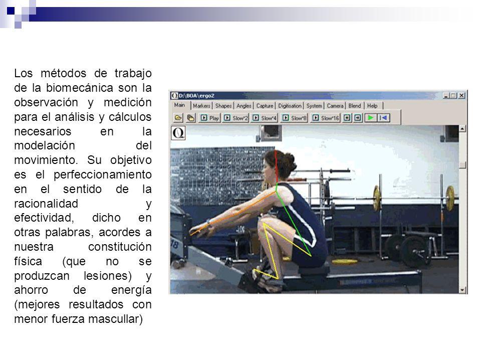 Los métodos de trabajo de la biomecánica son la observación y medición para el análisis y cálculos necesarios en la modelación del movimiento.