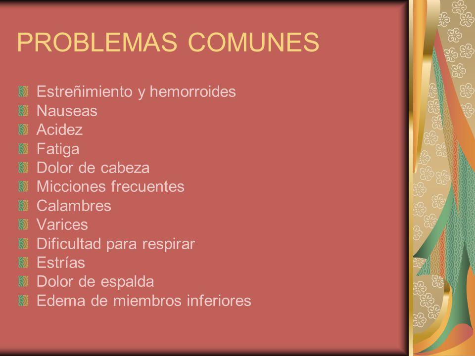 PROBLEMAS COMUNES Estreñimiento y hemorroides Nauseas Acidez Fatiga
