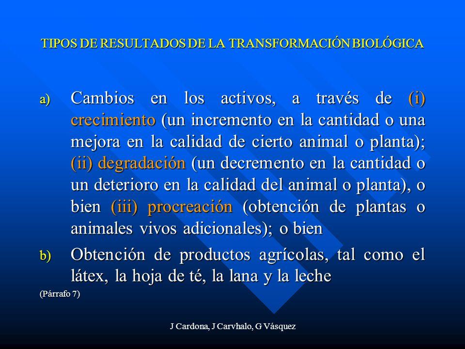TIPOS DE RESULTADOS DE LA TRANSFORMACIÓN BIOLÓGICA