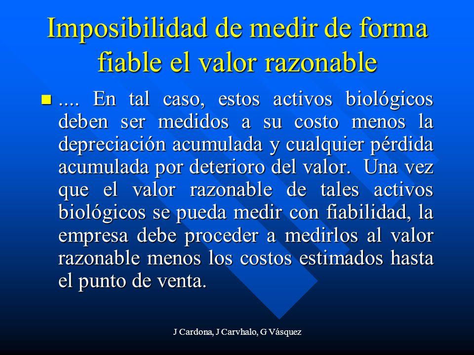 Imposibilidad de medir de forma fiable el valor razonable
