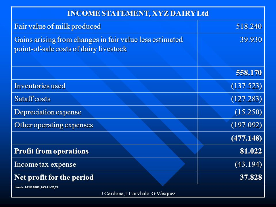 INCOME STATEMENT, XYZ DAIRY Ltd