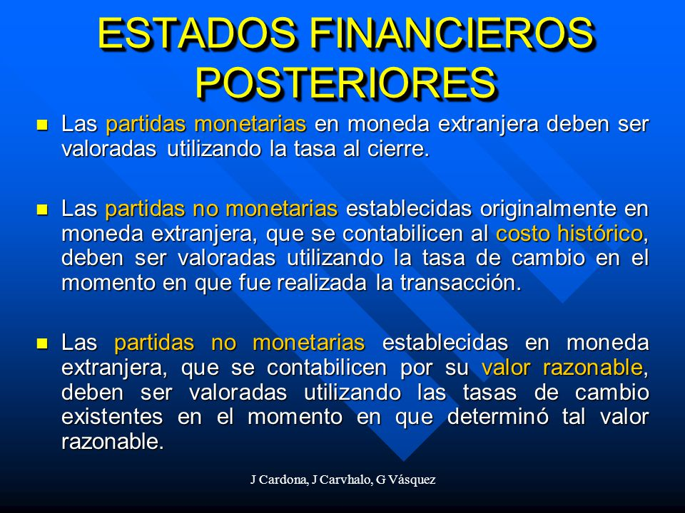 ESTADOS FINANCIEROS POSTERIORES