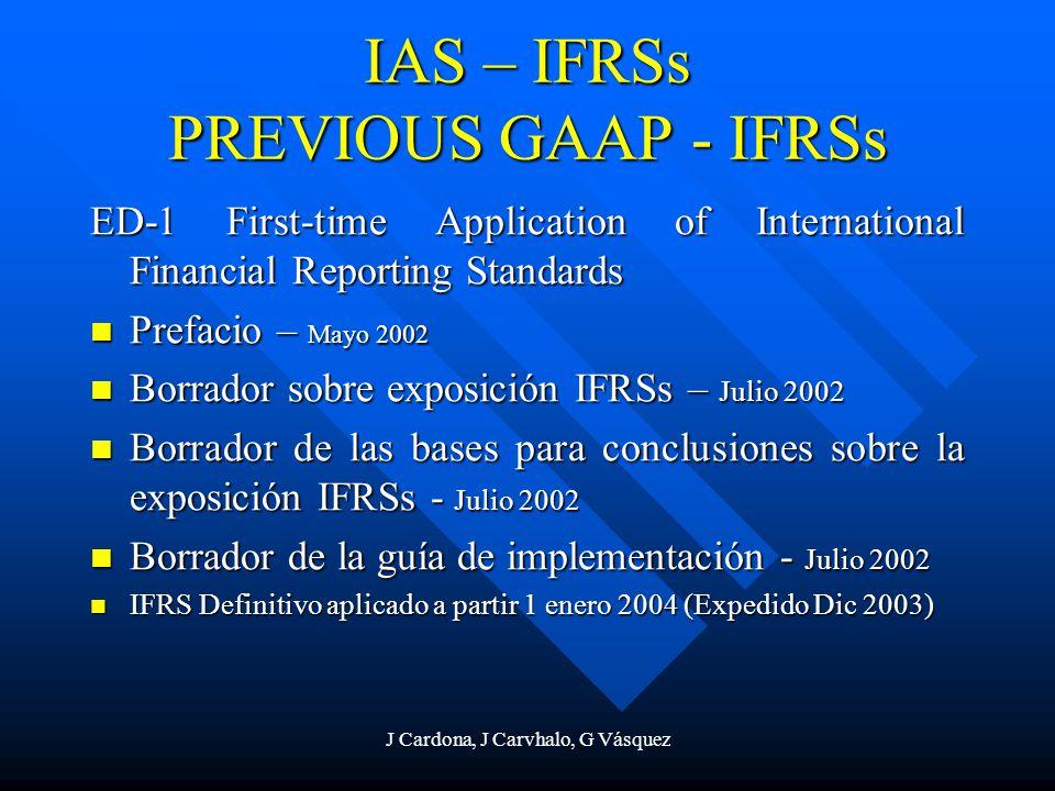 IAS – IFRSs PREVIOUS GAAP - IFRSs