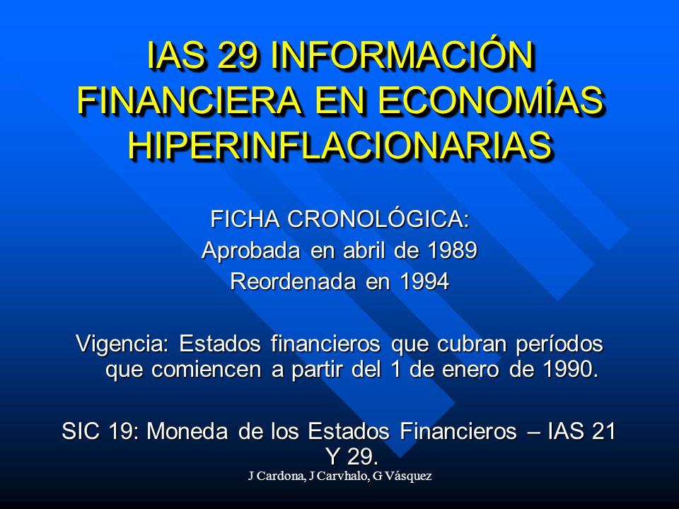 IAS 29 INFORMACIÓN FINANCIERA EN ECONOMÍAS HIPERINFLACIONARIAS