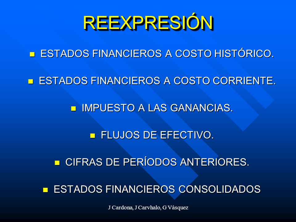REEXPRESIÓN ESTADOS FINANCIEROS A COSTO HISTÓRICO.