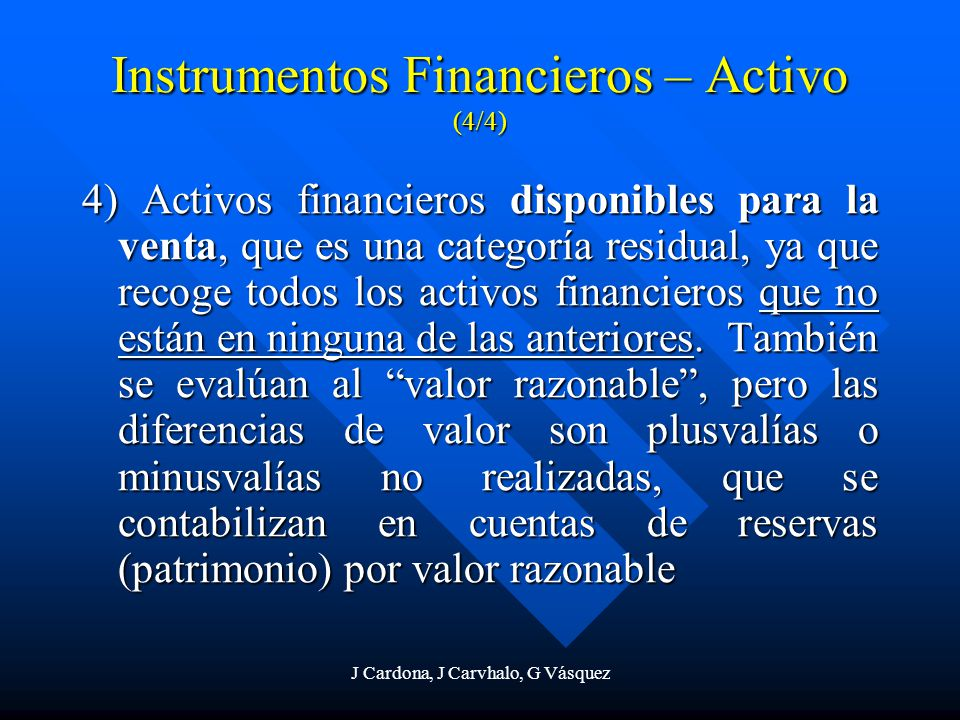 Instrumentos Financieros – Activo (4/4)