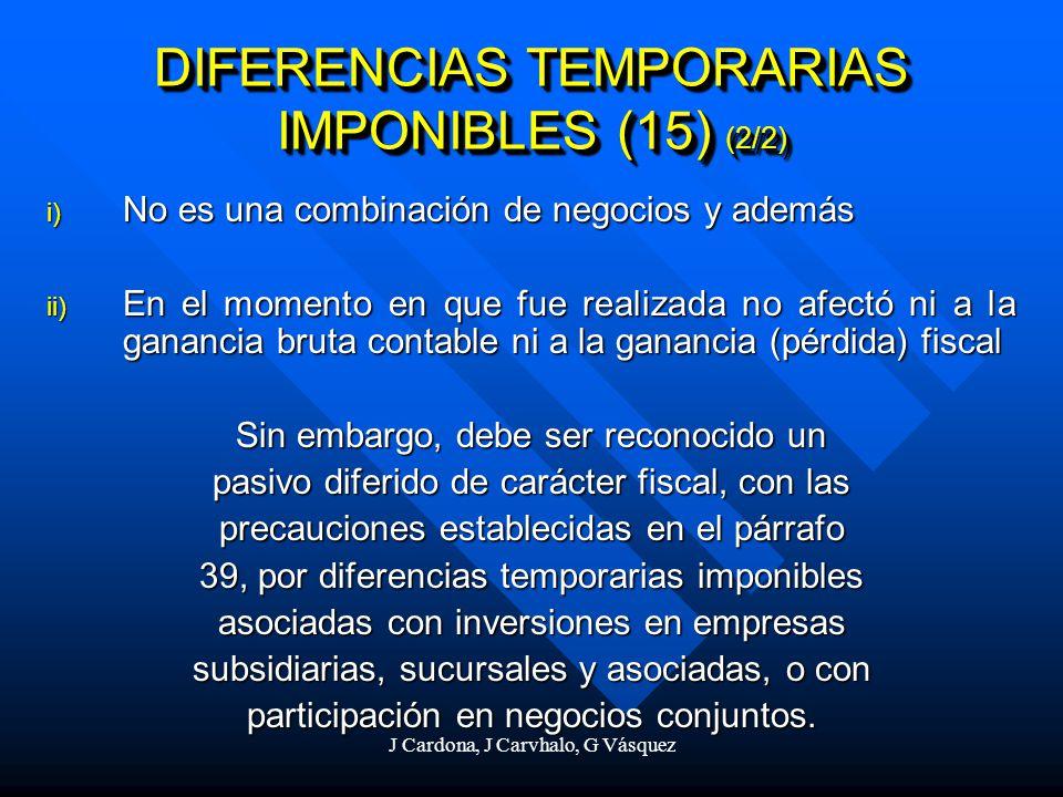 DIFERENCIAS TEMPORARIAS IMPONIBLES (15) (2/2)