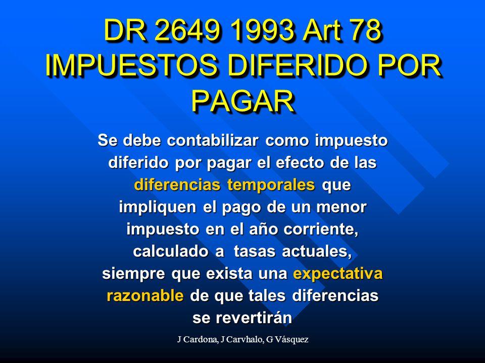 DR 2649 1993 Art 78 IMPUESTOS DIFERIDO POR PAGAR