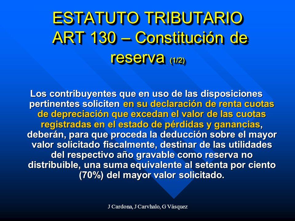 ESTATUTO TRIBUTARIO ART 130 – Constitución de reserva (1/2)