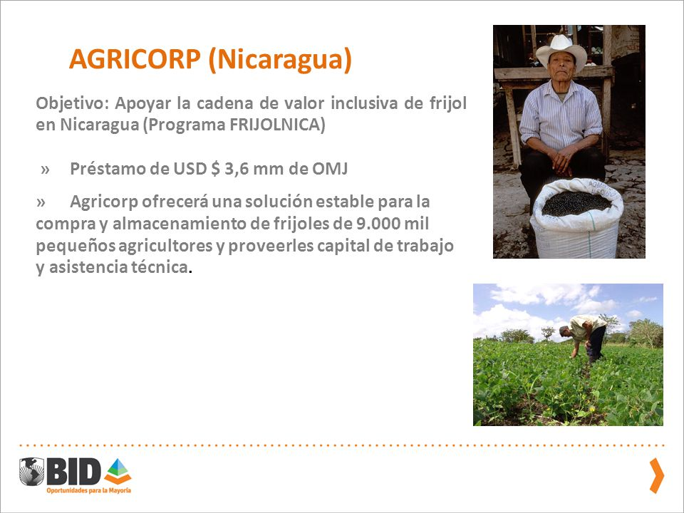 AGRICORP (Nicaragua) Objetivo: Apoyar la cadena de valor inclusiva de frijol en Nicaragua (Programa FRIJOLNICA)