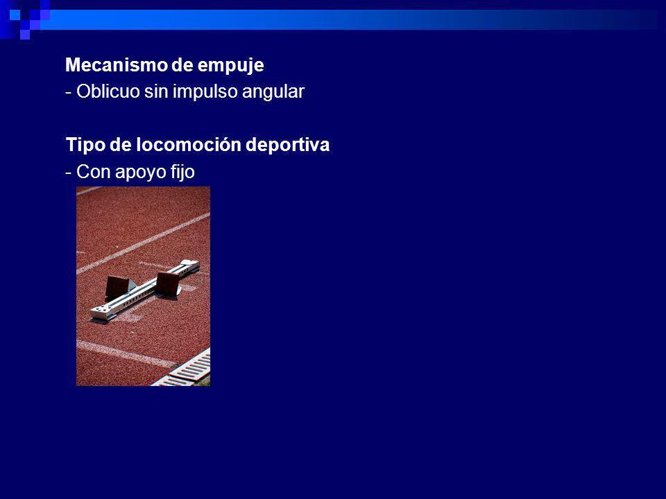 Mecanismo de empuje - Oblicuo sin impulso angular Tipo de locomoción deportiva - Con apoyo fijo
