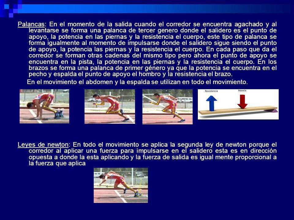 Palancas: En el momento de la salida cuando el corredor se encuentra agachado y al levantarse se forma una palanca de tercer genero donde el salidero es el punto de apoyo, la potencia en las piernas y la resistencia el cuerpo, este tipo de palanca se forma igualmente al momento de impulsarse donde el salidero sigue siendo el punto de apoyo, la potencia las piernas y la resistencia el cuerpo. En cada paso que da el corredor se forman otras cadenas del mismo tipo pero ahora el punto de apoyo se encuentra en la pista, la potencia en las piernas y la resistencia el cuerpo. En los brazos se forma una palanca de primer género ya que la potencia se encuentra en el pecho y espalda el punto de apoyo el hombro y la resistencia el brazo.
