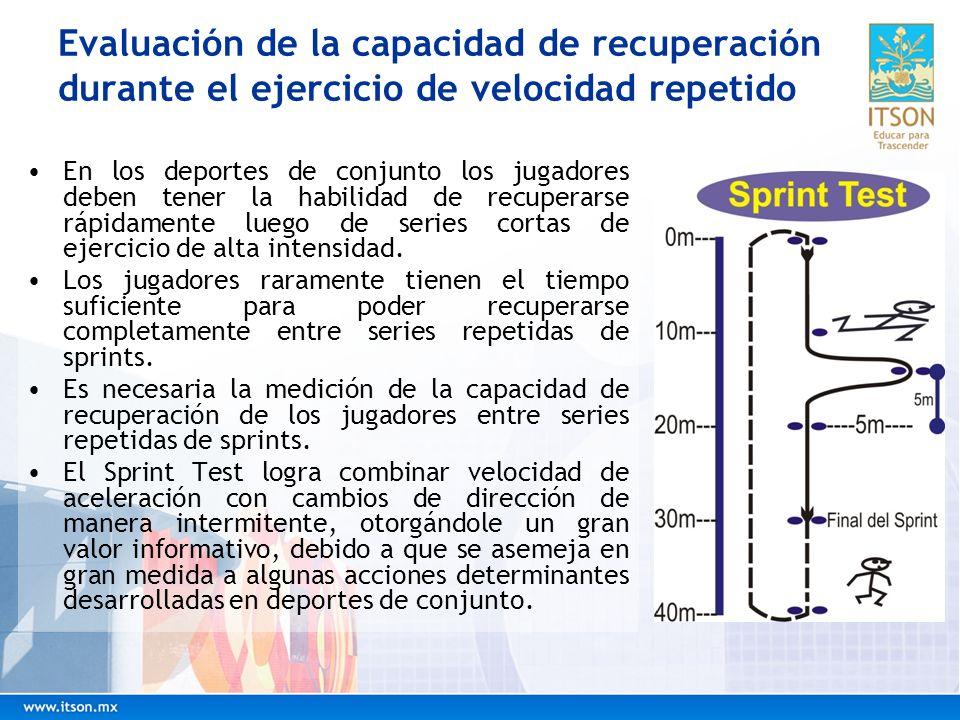 Evaluación de la capacidad de recuperación durante el ejercicio de velocidad repetido