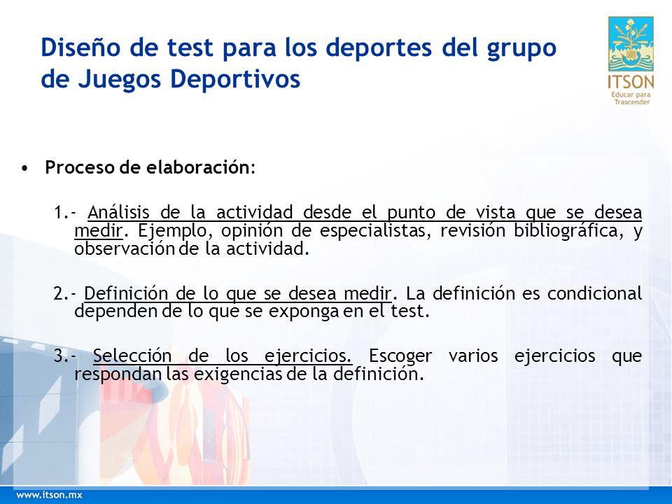 Diseño de test para los deportes del grupo de Juegos Deportivos