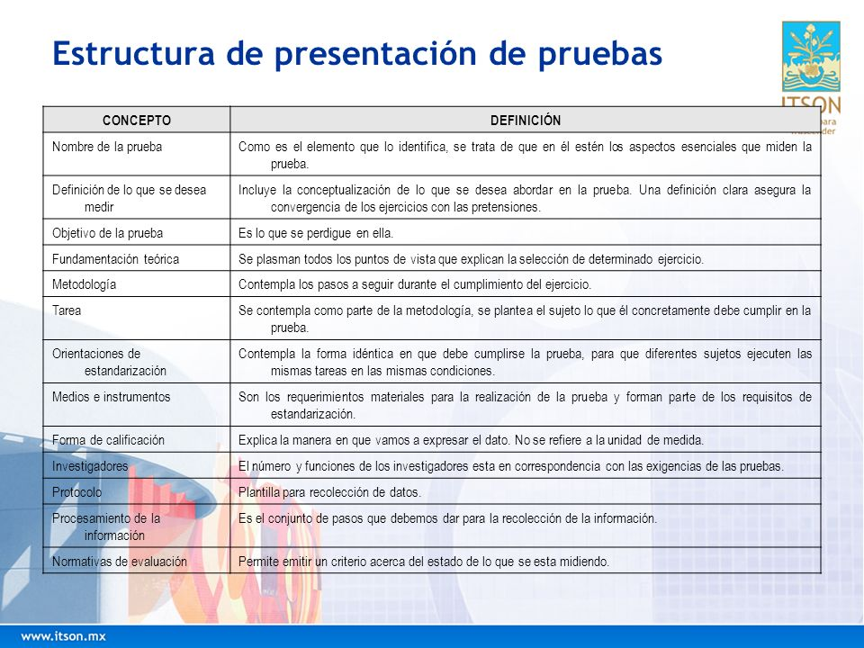 Estructura de presentación de pruebas