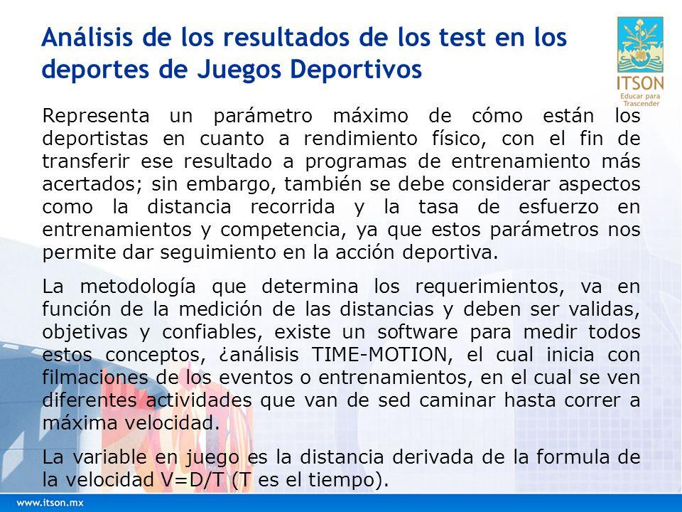 Análisis de los resultados de los test en los deportes de Juegos Deportivos