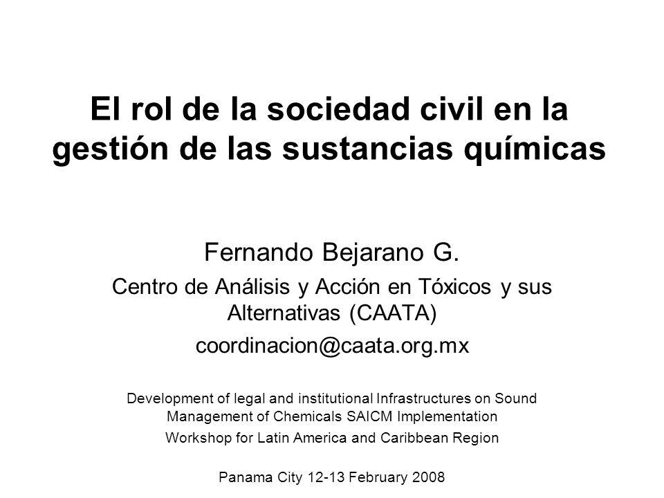El rol de la sociedad civil en la gestión de las sustancias químicas
