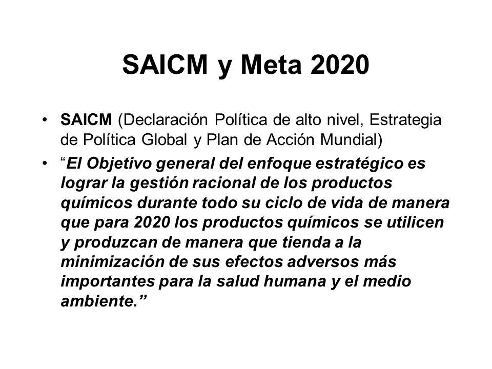 SAICM y Meta 2020 SAICM (Declaración Política de alto nivel, Estrategia de Política Global y Plan de Acción Mundial)