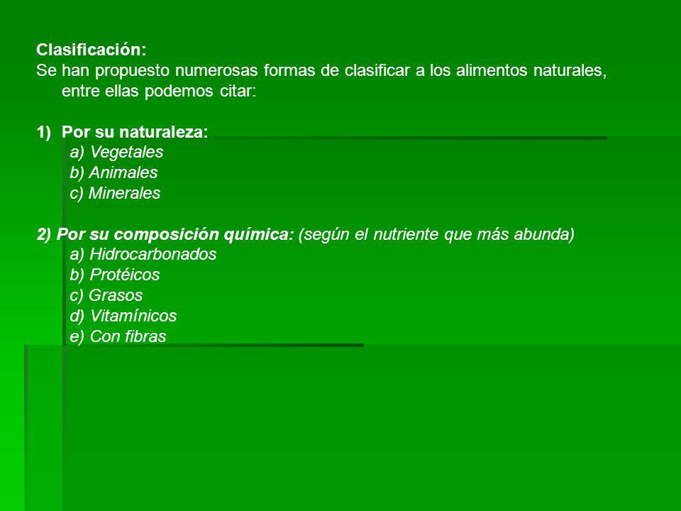 Clasificación: Se han propuesto numerosas formas de clasificar a los alimentos naturales, entre ellas podemos citar: