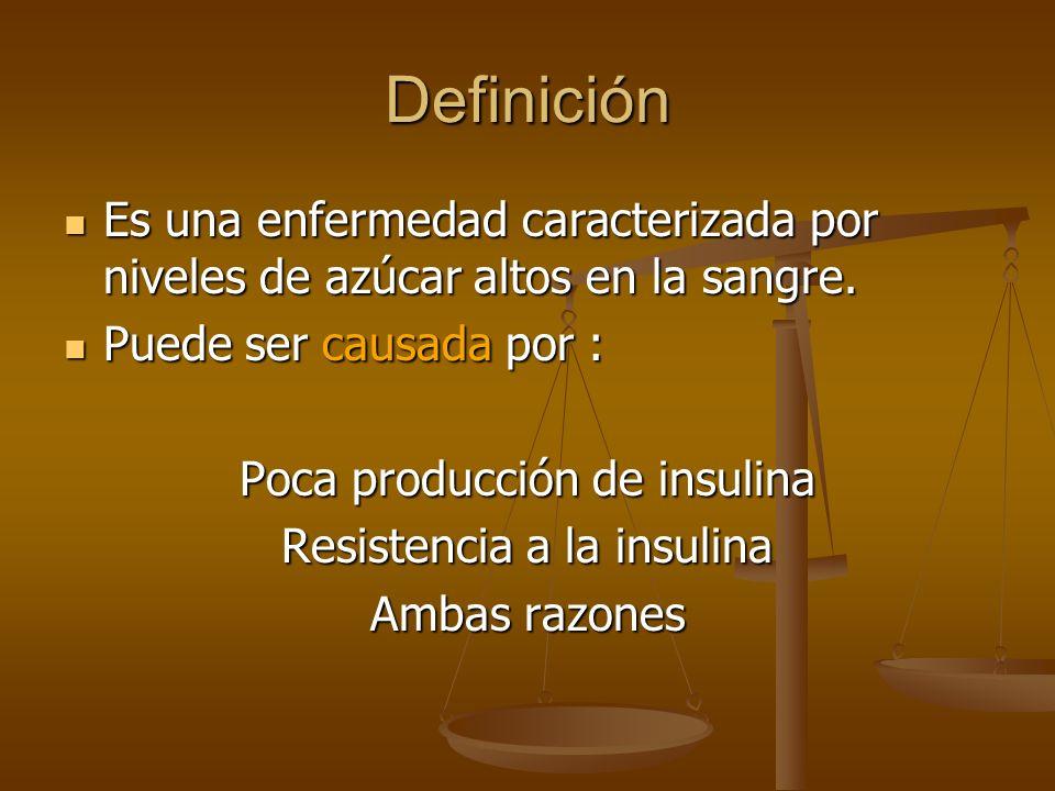 Definición Es una enfermedad caracterizada por niveles de azúcar altos en la sangre. Puede ser causada por :