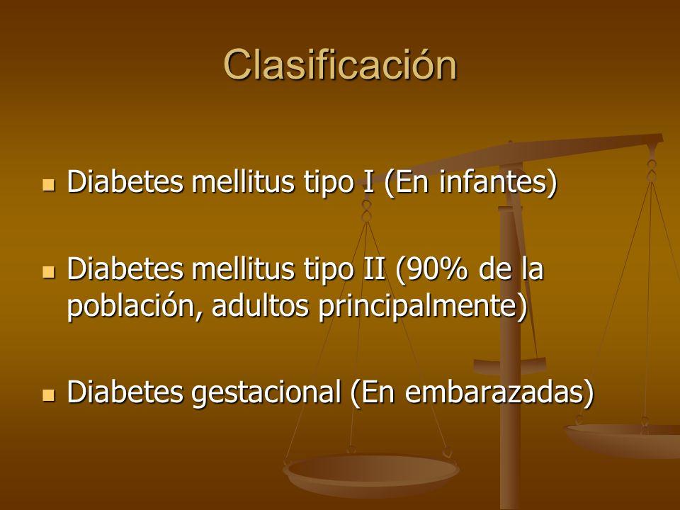 Clasificación Diabetes mellitus tipo I (En infantes)