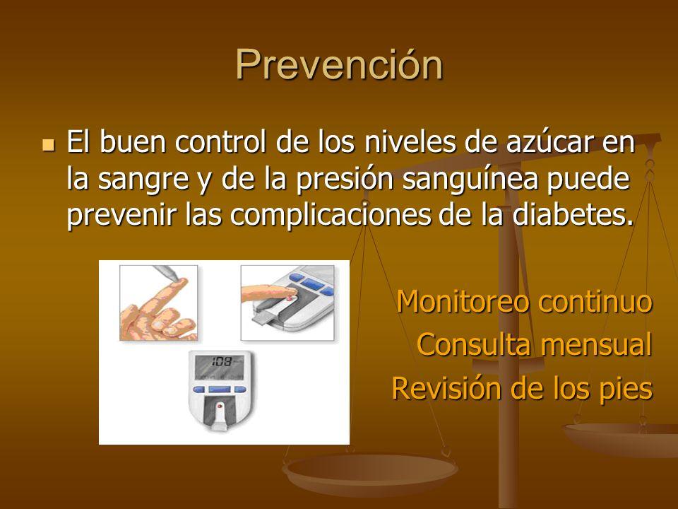 Prevención El buen control de los niveles de azúcar en la sangre y de la presión sanguínea puede prevenir las complicaciones de la diabetes.