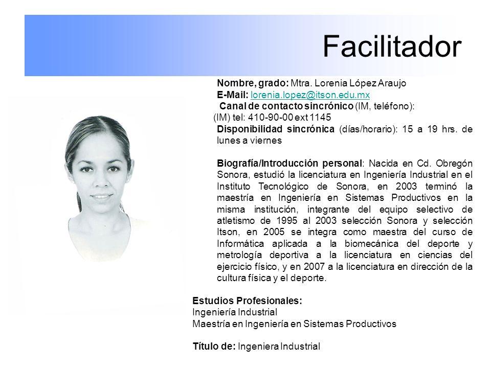 Facilitador Nombre, grado: Mtra. Lorenia López Araujo