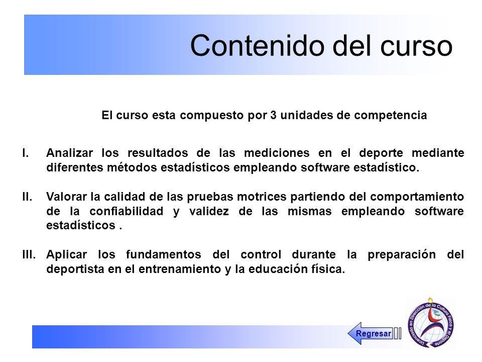 Contenido del curso El curso esta compuesto por 3 unidades de competencia.