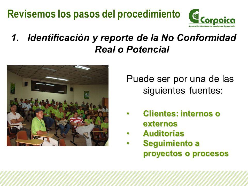 Identificación y reporte de la No Conformidad Real o Potencial