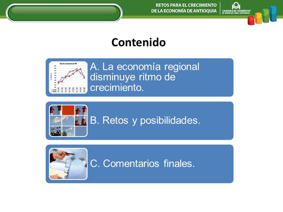 Contenido A. La economía regional disminuye ritmo de crecimiento.